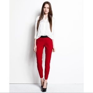 •Theory• Red Merryn New Recovery Skinny Pants